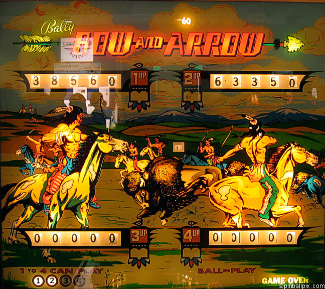 Bow and Arrow Pinball (1975 Bally)
